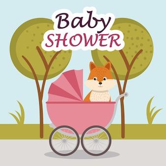 Carta di baby shower con simpatica volpe