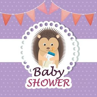 Baby shower card con porcospino carino