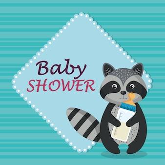 Baby shower card con simpatico procione