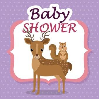 Baby shower card con simpatiche renne e scoiattoli