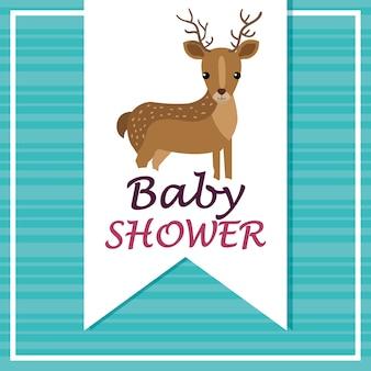 Baby shower card con renne carine
