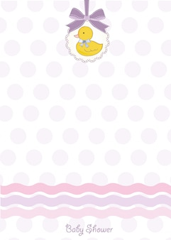 Baby shower card con piccola anatra
