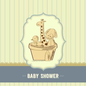 Carta di baby shower con giocattoli retrò