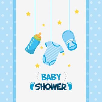 Scheda dell'acquazzone di bambino con l'attaccatura stabilita delle icone
