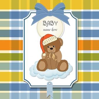 Baby shower card con orsacchiotto sonnolento