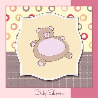 Scheda di bambino doccia con giocattolo orsacchiotto