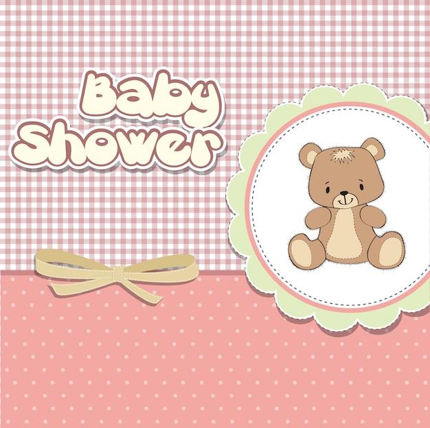 Scheda di bambino doccia con orsacchiotto