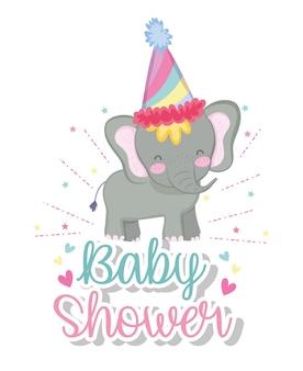 Celebrazione della doccia del bambino con la decorazione dell'elefante