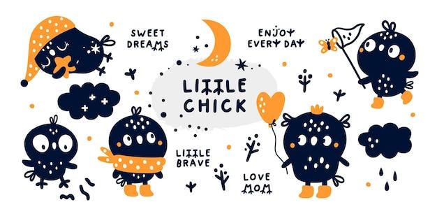Collezione baby shower con simpatico personaggio pulcino. clipart per bambini creativi con uccello del fumetto.