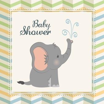 Concetto della doccia di bambino rappresentato dall'icona dell'elefante