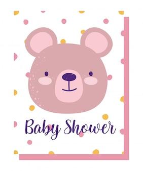 Baby shower, simpatico cartone animato sfondo punteggiato orso faccia animale, carta di invito a tema