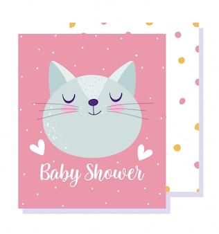 Baby shower, simpatico cartone animato di cuori di gatto faccia animale, carta di invito a tema