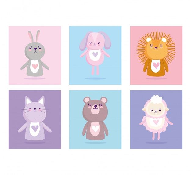 Baby shower, simpatici animali per carta e icone dei cartoni animati di invito