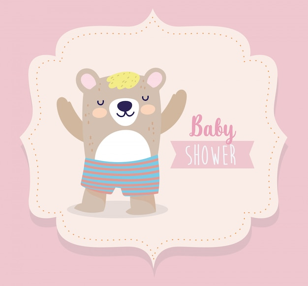 Baby shower simpatico orso con pantaloni corti cartoon