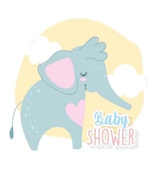 Baby shower, simpatico cartone animato di nuvole di cuore animale elefante, carta di invito a tema