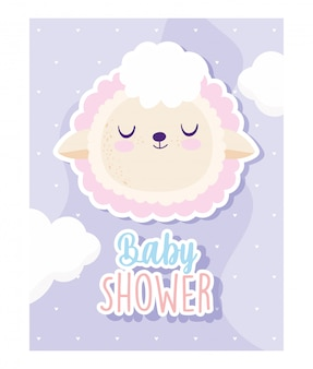 Baby shower, simpatico cartone animato animale testa di pecora, carta di invito a tema