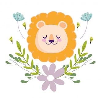 Baby shower, testa di leone carino fiori decorazione fogliame cartoon, carta di invito a tema