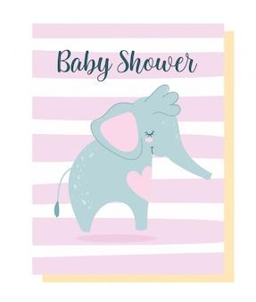 Baby shower, simpatico cartone animato animale piccolo elefante, carta di invito a tema sfondo strisce