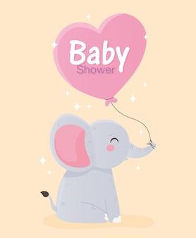 Baby shower, carino piccolo elefante con illustrazione vettoriale palloncino cuore