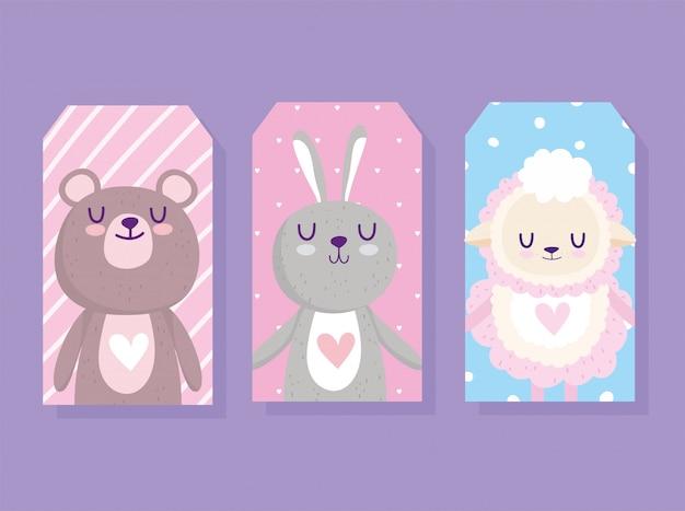 Baby shower, simpatico orsetto di pecora e cartone animato di carte animali coniglio