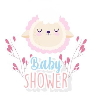 Baby shower, simpatico cartone animato di decorazione floreale faccia di pecora, carta di invito a tema