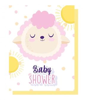 Baby shower, simpatica pecora faccia sole puntini decorazione animale cartone animato, carta di invito a tema