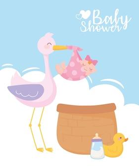 Baby shower, simpatica cicogna con cesto bambina anatra e biberon latte, celebrazione benvenuto neonato