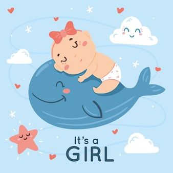 Baby doccia design per ragazza