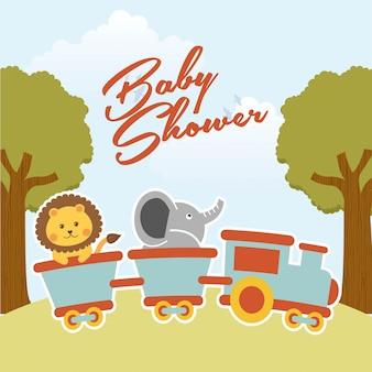 Progettazione della doccia di bambino sopra l'illustrazione di vettore del fondo del paesaggio