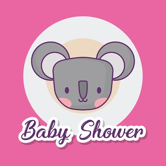 Baby doccia design con icona koala carino