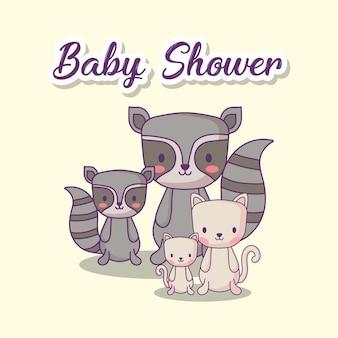 Baby shower design con simpatici procioni e gatti