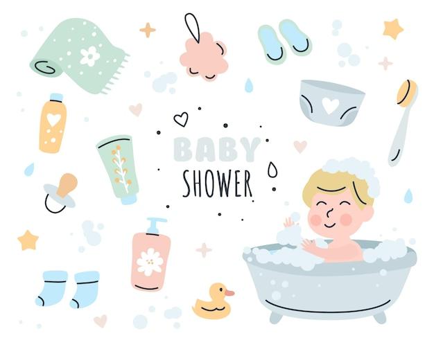 Illustrazione stabilita di doodle di elementi della doccia di bambino