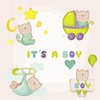 Elementi per baby shower con gatti carini