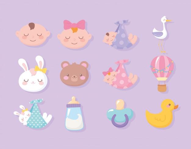 Baby shower, facce ragazzo ragazza orso bunny anatra cicogna ciuccio benvenuto icone celebrazione neonato