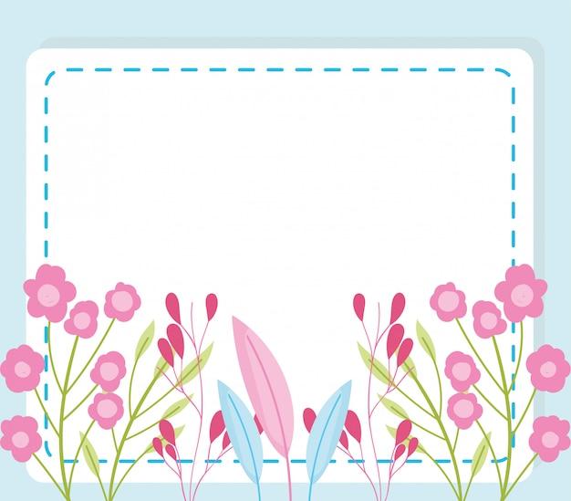 Baby shower, decorazione della natura del fogliame dei fiori annunciano la scheda di modello di benvenuto appena nata