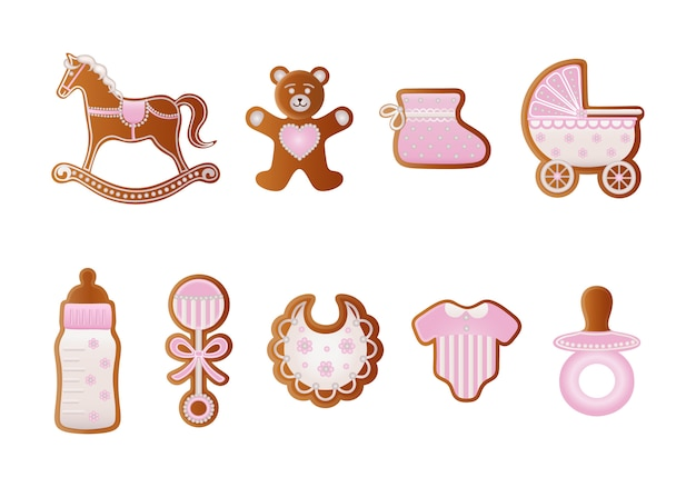 Pan di zenzero baby shower. biscotti rosa per bambina. cavallo a dondolo, orso, scarpa per bambini, carrozzina, biberon, ciuccio, vestito, sonaglio e biberon pan di zenzero