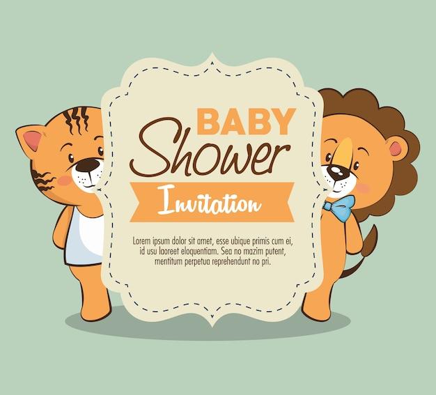 Scheda dell'invito della ragazza dell'acquazzone di bambino