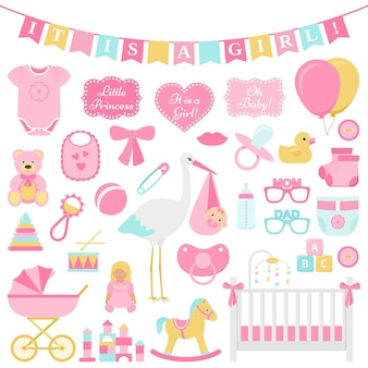 Baby doccia insieme della ragazza. illustrazione vettoriale. elementi rosa per la festa.