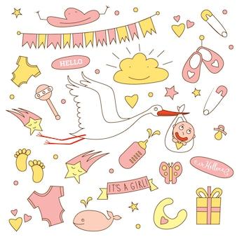 Baby shower girl set con cicogna. illustrazione di vettore.