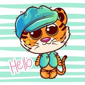 Cartolina d'auguri della doccia di bambino con il ragazzo sveglio della tigre del fumetto - vettore