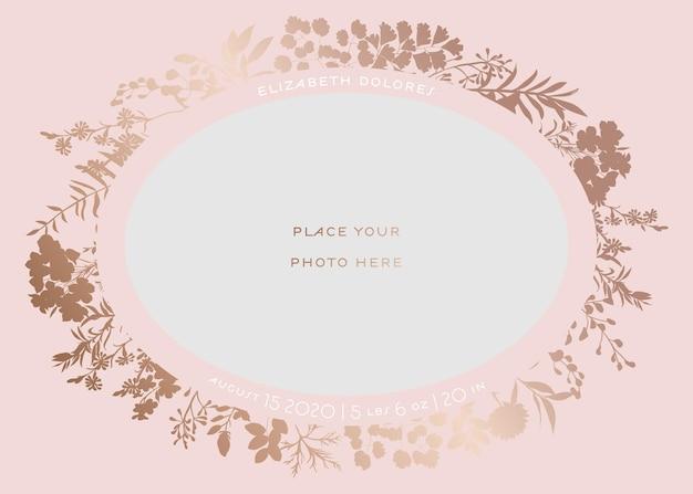 Biglietto di auguri per baby shower con cornice floreale. modello di invito a una festa per neonato con posto per foto del bambino e fiori dorati. matrimonio, salva la data card. illustrazione vettoriale