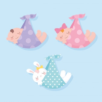 Baby shower, appendere neonati e coniglio sulle coperte