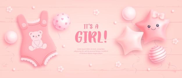 Modello di invito per baby shower per ragazza Vettore Premium