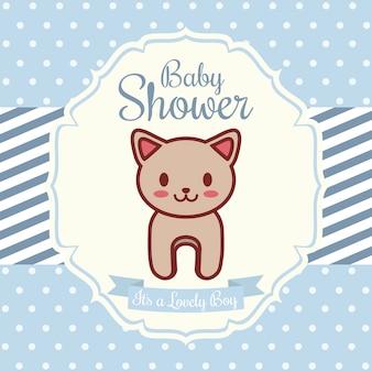 Invito doccia bambino con l'icona di gatto