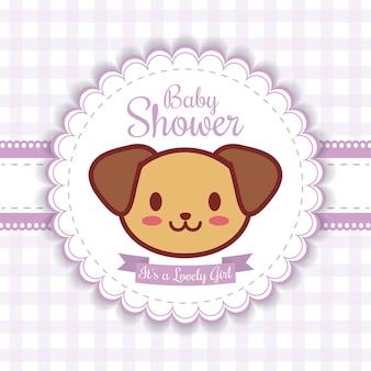 Invito doccia bambino con icona di cane