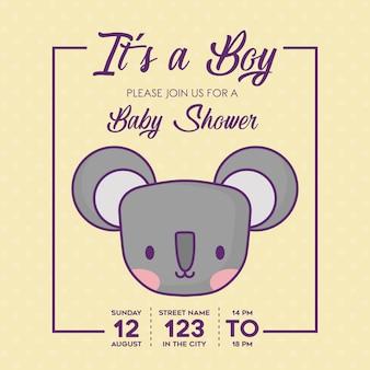 Invito di bambino doccia con un concetto di ragazzo con l'icona di koala carino su sfondo giallo, colorato