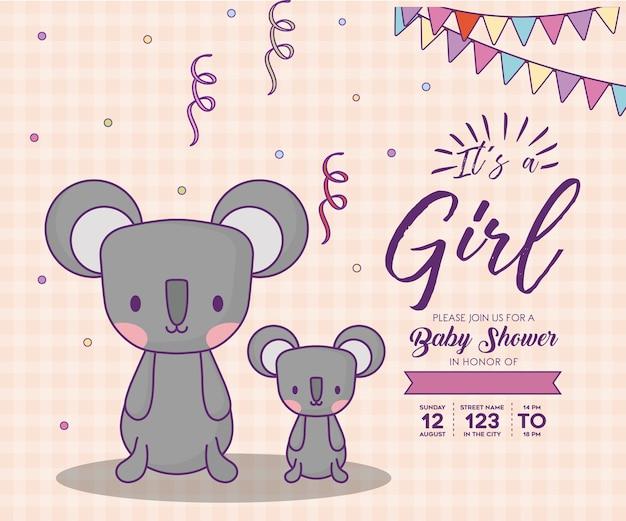 Invito dell'acquazzone di bambino con relativo un concetto della ragazza con i koala svegli sopra fondo arancio, des variopinto