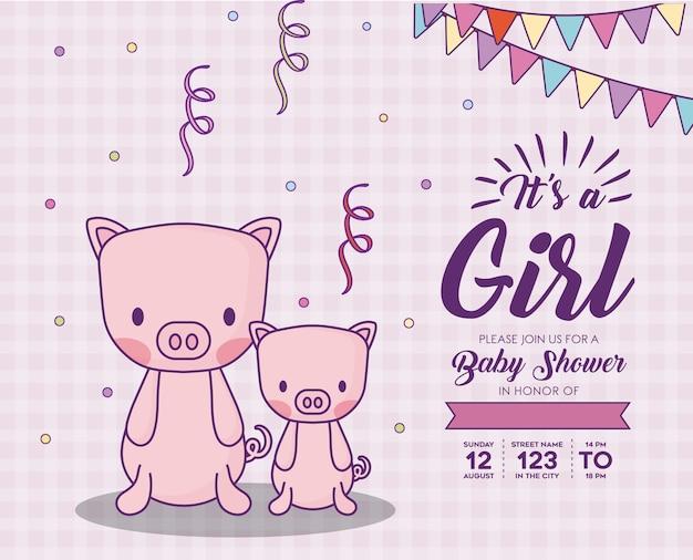 Invito dell'acquazzone di bambino con relativo un concetto della ragazza con i maiali svegli sopra fondo rosa, progettazione colourful.
