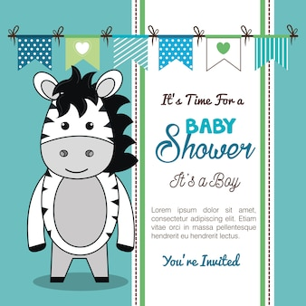 Invito baby shower con animali imbalsamati Vettore Premium