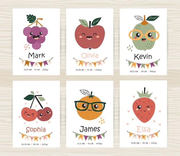 Modelli di inviti per baby shower con frutti carini. perfetto per la cameretta dei bambini, la decorazione della scuola materna, i poster e le decorazioni da parete